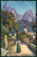 Bolzano Castelrotto Siusi allo Sciliar Costumi RIFILATA cartolina QT3138