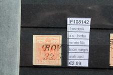 FRANCOBOLLI ASI LOMBARDO VENETO 15C. BUONI MARGINI USATI STAMPS ITALY (F108142)