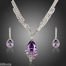 Cubic Zirconia Swarovski Elements Purple Crystal Jewellery Drop Necklace Earring