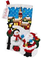 Bucilla 'Christmas Village' LED Christmas Felt Stocking Stitchery Kit, 86818