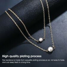 Double Layer Pearl Chain Necklace Women Girls 6-8mm Wedding Bridesmaids Gifts