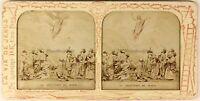 Ascension Da Gesù Religion Foto Stereo PL54L Diorama Vintage Albumina c1875