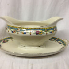 AMC CHINA GERMANY ACC3 GRAVY BOAT & UNDER PLATE TEAL & YELLOW BANDS GOLD TRIM