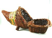 Vintage Cornucopia Basket Footed On Legs Stand Tray Multicolor Woven Wicker