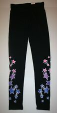 New Justice Girls Leggings 14 16 Black with Purple & Pink Stars Pattern