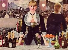 "1953 Vintage Full Color Art Plate ""A Bar At The Folies-Bergere"" Manet Lithograph"