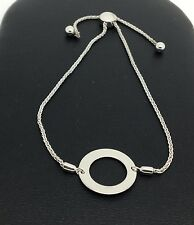 14K Solid White Gold Open Circle Adjustable Bracelet