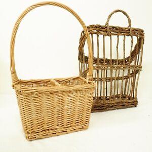 2x Wine Wicker Storage Basket Woven Rustic Brown Hanging Newspaper B37
