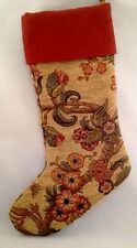 Tapestry Christmas Stocking Elegant Woven Maroon Gold Branches Leaves Flowers