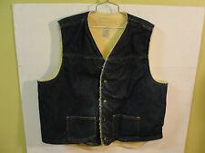 Vtg CARHARTT Mens XXL Sherpa Fleece Lined Denim Vest Jacket snap button USA Made