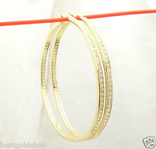"2 3/4""  Channel Set Diamonique CZ Hoop Earrings 14K Yellow Gold Clad 925 Silver"