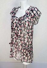 BARBARA HULANICKI black pink Sheer chifon Frill neck Flare sleeve Long blouse 10