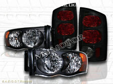 2002-2005 Dodge Ram 1500 / 2003-2005 2500/3500 Headlights Black + Tail Lights