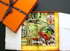 """NWOT Authentic Hermes Paris Scarf """" Les Cheyennes"""" Kermit Oliver Carre 90 CM"""