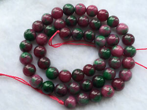 """New 8mm Red Green Ruby zoisite Round Gems Loose Beads 15 """" AAA8"""