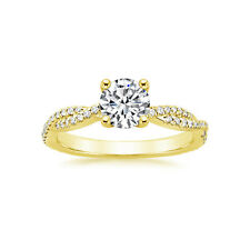 1.01 Ct Round Diamond Stylish Engagement Rings 14K Yellow Gold Size M N