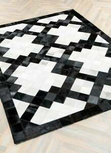 Handmade Cowhide Patchwork Rug Square Design Cow Skin Cow Hide  Leather Hair .