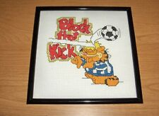 Vintage Needlepoint Picture Garfield The Cat Soccer Block That Kick Framed