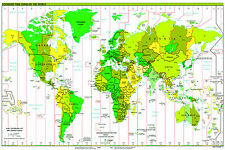 A2 Size Gloss laminated WORLD MAP POSTER STANDARD TIME ZONES political atlas