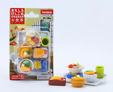 Japanese Iwako Puzzle Eraser Shabu Katsu Pork shrimp green Tea Gift Card Set NEW