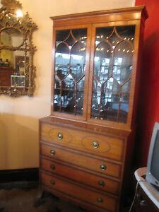 Baker Furniture Satinwood Secretary Bookcase w/ Rosewood & Ebony Inlay