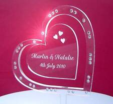 Personalised heart on side engraved wedding cake toppers with crystals