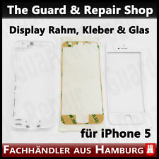 iPhone 5 Display Rahm Frame + Display Front Glas + Glas Klebepads Weiß #424
