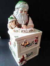 New In Box Lenox 2001 Christmas Santa Workbench Toy Shop Holiday Cookie Jar
