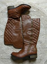 Arizona Cody Wide Calf Riding Tall Knee Boots Women's Size 8 Cognac Camel Brown