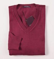 NWT $535 BALLANTYNE Raspberry-Burgundy Cotton-Cashmere Sweater M V-Neck Italy