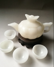 China jade carved white jade teapot teapot four cups of tea Kung Fu w/box