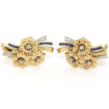 VINTAGE 14k oro amarillo platino .86ctw Diamante Zafiro flor pendientes de clip