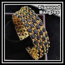 US Indian Pakistani Gold Plated Black Stone Polki Bangles Bracelets Traditional
