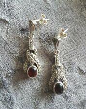 Stunning ladies Real Sterling Silver Marcasite & Garnet Dangly Pierced Earrings