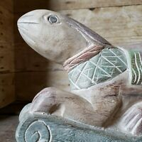 Vtg Hand Carved Bunny Rabbit Rocking Horse Wood Carving Folk Art Figure