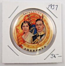 1937 Coronation King George VI Queen Elizabeth Souvenir Pin Pinback Button Badge