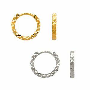 Small Huggie Hoop Earrings Textured Round Hoop Pierced Earrings 14K Yellow Gold