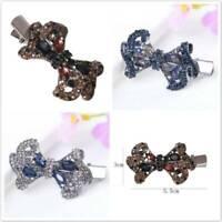 Fashion Crystal Bow Duckbill Clip Hair Clip Hairpin Metal Barrette Hair Ornament