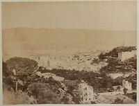 Italia Panorama Di Messina Foto Vintage Albumina Ca 1880 Formato 19,5x25,5 CM