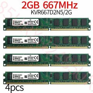 8GB 4x 2GB Kingston KVR667D2N5/2G PC2-5300U DDR2 667Mhz intel Desktop Memory RAM