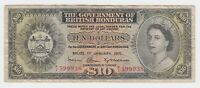 British Honduras Banknote 10 Dollar 1971 P31c aVF Queen Elizabeth Rare Key Date