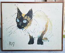 Vtg Fritz Hug 60s Print Siamese Cat Giclée Canvas Framed Wall Art Mid Century