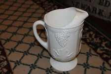 Superb Vintage Milk Glass Pitcher W/Grapes & Leaves-Large Pitcher W/Handle-LQQK