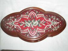 ANTIQUE VICTORIAN BEADWORK & WOOLWORK FLORAL EMBROIDERY STAND c1860