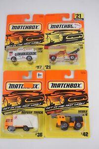 Lot of 4 Matchbox 1/64 Refuse #36 #23 GMC Wrecker #21 Mobile Crane #42 Truck #57