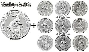 The Queen's Beasts Silver Bullion 2oz Coins Complete Series Lion to Greyhound