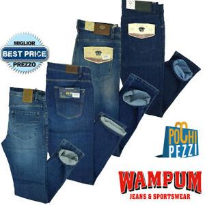 Jeans da Uomo Slim Fit 5 tasche Elasticizzato chiari vita alta WAMPUM 44 46 56