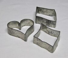 3 Antique/Vintage Primitive Tin Cookie Cutters-Diamonds Heart - Maybe Handmade