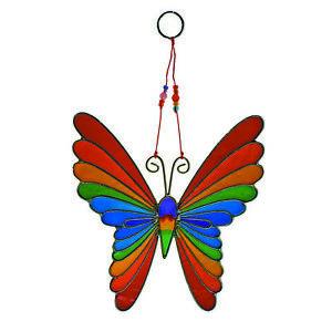 My Family House Butterfly Suncatcher with Beads - Rainbow Resin - Handmade