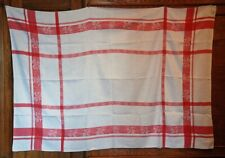 Classic French Red & White Traditional Vintage Tablecloth ~ Large 87� Antique
